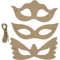 Maskers, H: 5+8 cm, B: 18 cm, 3x10 stuk/ 1 doos