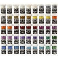 Glitter, diverse kleuren, 46x20 gr/ 1 doos