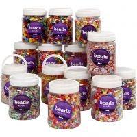 Plastic kralen, afm 6-15 mm, gatgrootte 1,5-6 mm, diverse kleuren, 16x700 ml/ 1 doos