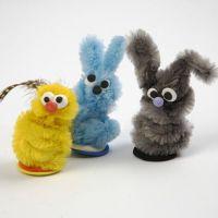 Kleine dieren van chenille draad en Silk Clay