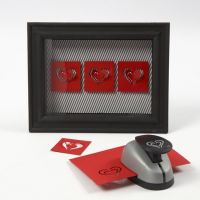 Harten in een 3D lijst met glas