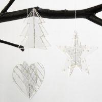 Kunststof hangende decoraties gedecoreerd met 3D Liner zilver