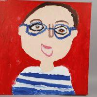 Een geschilderd zelfportret op canvas