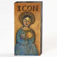 Crackling door transparante Facetten Lack op houten ikoon