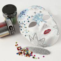Een masker met glitter ontwerpen gemaakt met transparante lijm