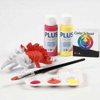 Dinosaurussen geverfd met primaire kleuren