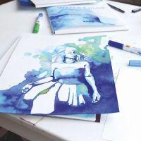 Tekening gemaakt met aquarelstiften