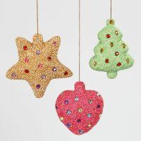 Styropor kerstdecoraties gedecoreerd met Foam Clay en strasstenen