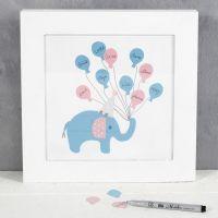 Een afbeelding met olifant en ballonnen als gastenboek
