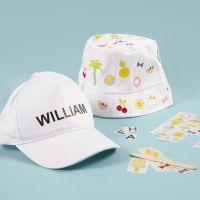 Zonnehoed en cap met rub-on stickers