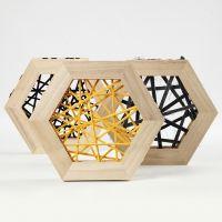 String Art met katoengaren in houten zespuntige lijsten voor muurdecoratie