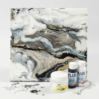Vloeibare Kunst op canvas met acrylverf en pouring medium