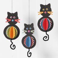 Hangende katten met kleurrijke buiken
