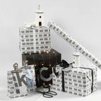 Zwart en wit Cadeaupapier met vuurtorens
