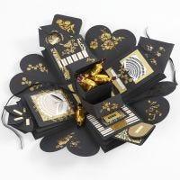 Explosie doos als cadeau met geld en chocola