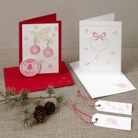 Kerstkaart met gestempelde ontwerpen