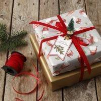 Kerstcadeau gedecoreerd met mini kerstboom op knijper