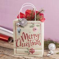 Cadeautas met kerstmotief en zilveren sterren